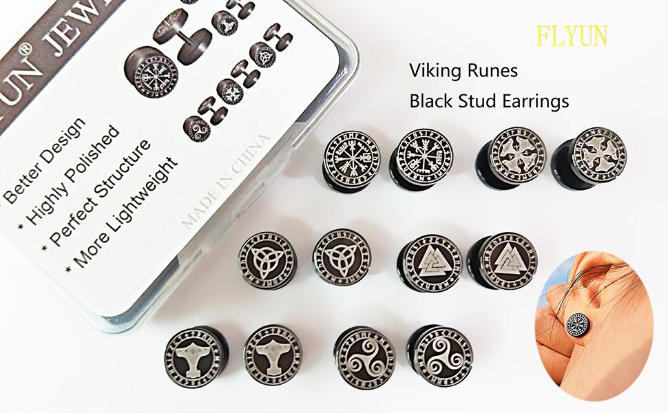 6 Pairs Viking Runes Earring and packing