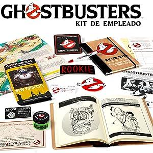 Cazafantasmas - Kit de Empleado (Manual de Equipo, Parches Ghostbusters, Bote Ecto contenedor, Mapa, Placa metálica, boligrafo, etc): Amazon.es: Juguetes y juegos