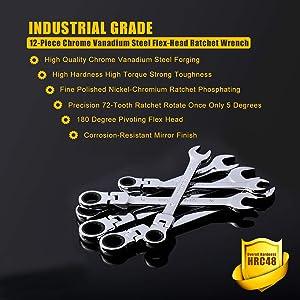 Flex-Head Ratcheting Wrench Set