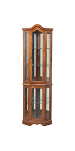 corner curio cabinet retro display cabinet with shelves Tempered Glass Door and Light System