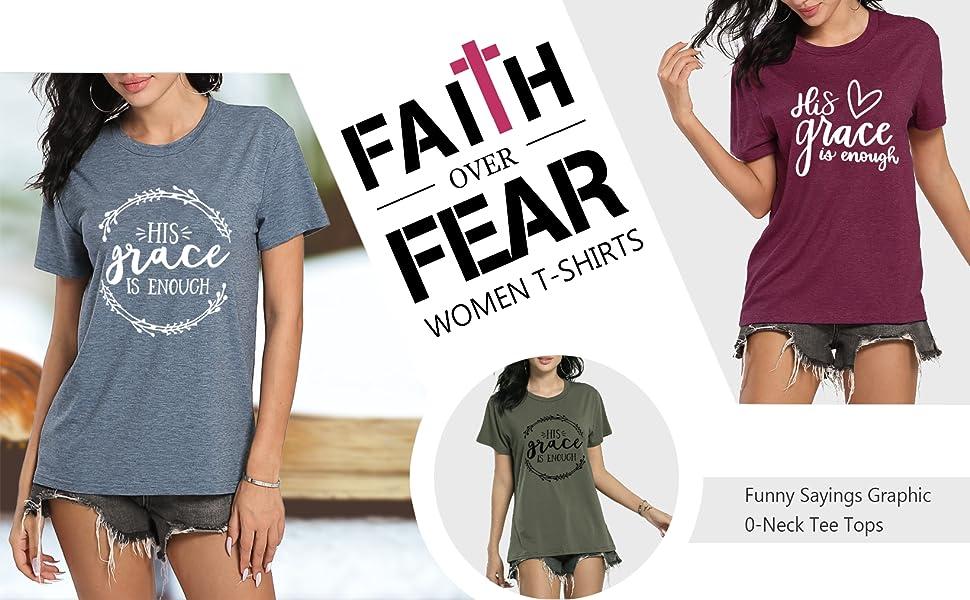Statement T Shirts Easter T Shirt Black Culture T Shirt His Grace is Enough T-Shirts I Faith T Shirt Novelty T Shirts