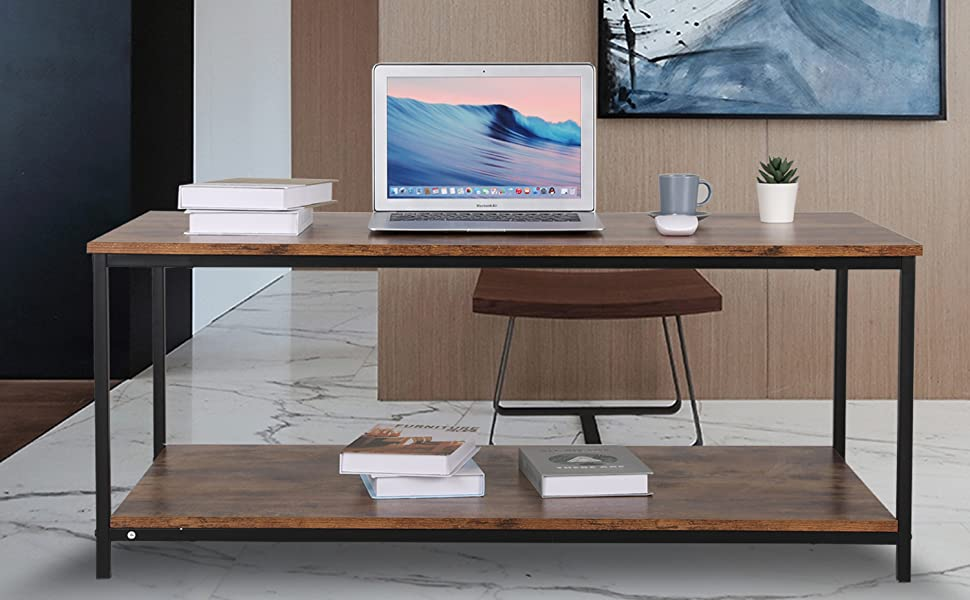 """Industrial Coffee Table 43.3"""" in with Storage Shelf"""