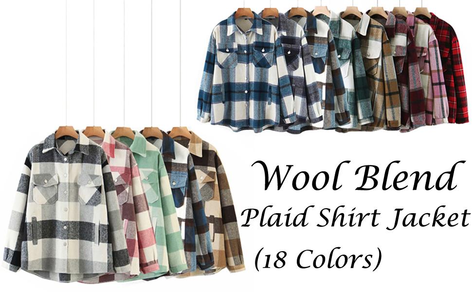 womens casual shirt wool plaid lapel button down long sleeve shacket jacket coat winter loose shirts