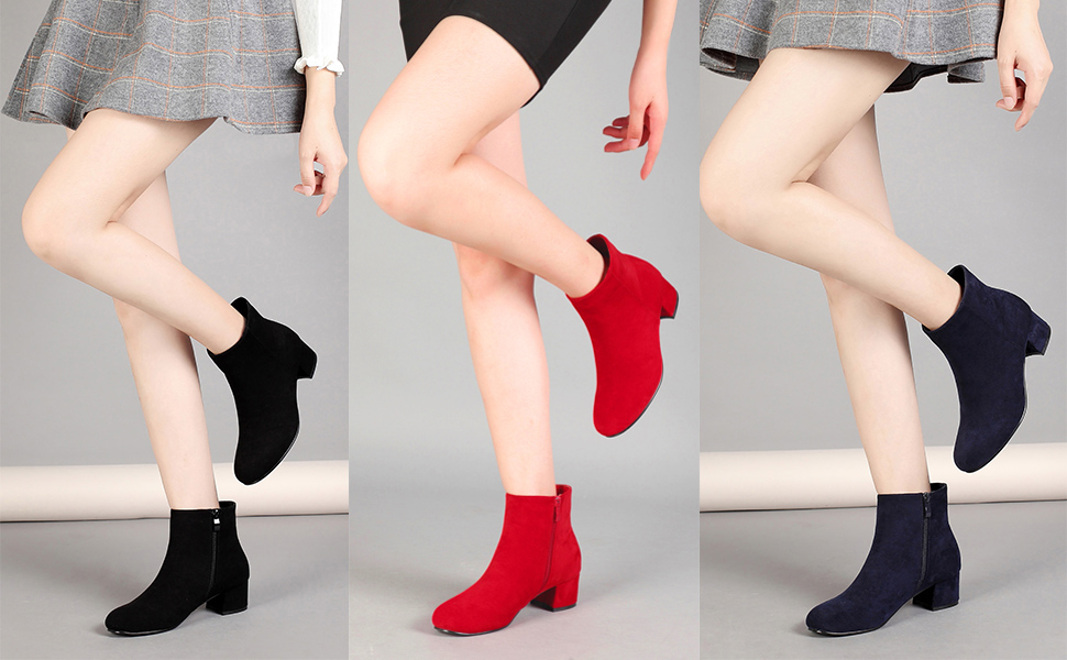 Details about  /Chic Womens Round Toe Ankle Boots Block Heels Pull on Zipper Fashion Suede Shoes
