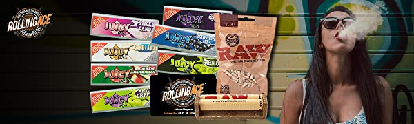 Juicy Jay's Rolling Papers Super Fine Rolling Ace Scoop Card Slim Cellulose Filters Joint Roller