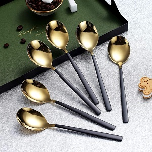 Gold and Black Dinner Spoons Set