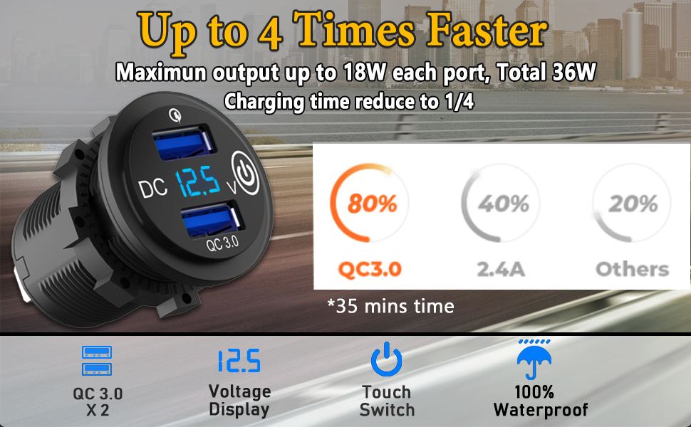 Quick Charge 3.0 USB ports 4x faster Fast Charging USB Splitter Plug Cigarette Lighter Adapter
