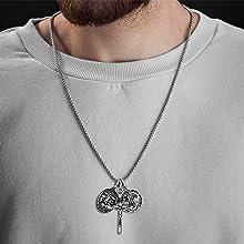 cross Necklace religious saint st stainless steel oxidized charm pendant men steve madden jewelry