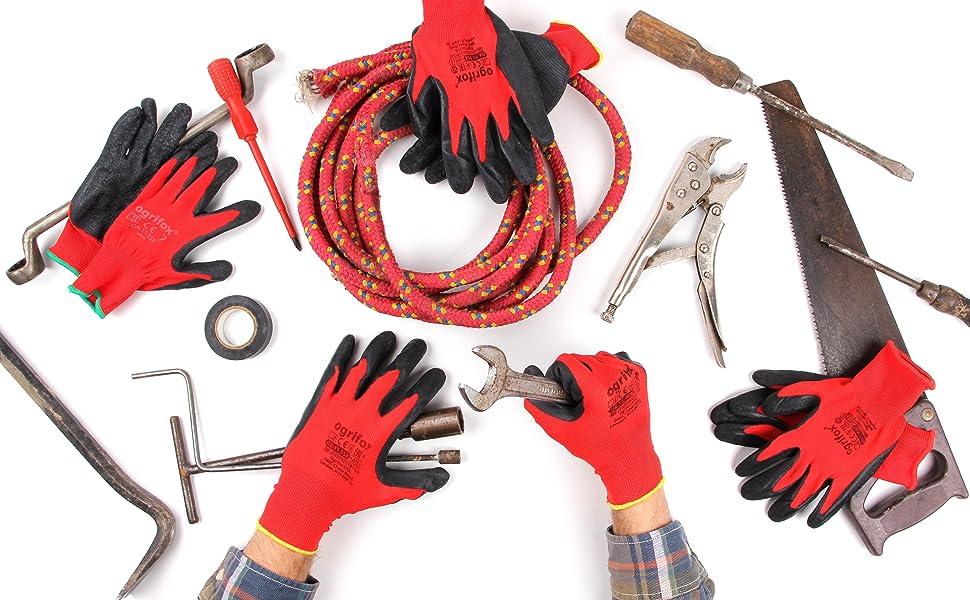 Guantes de trabajo de protección montaje manuales clip agarre recubiertos de jardín de látex
