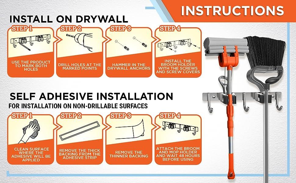 broom holder wall mount mop holder wall mounted broom hanger broom hook utility hook broom organizer