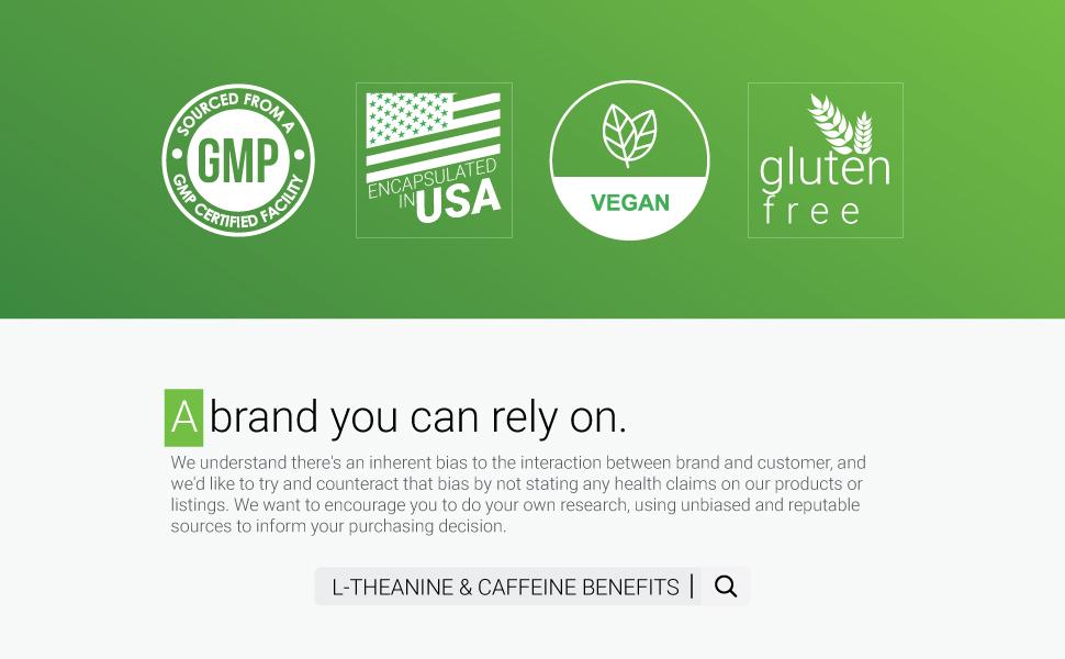l-theanine caffeine symnutrition brand vegan gluten free usa gmp bias benefits