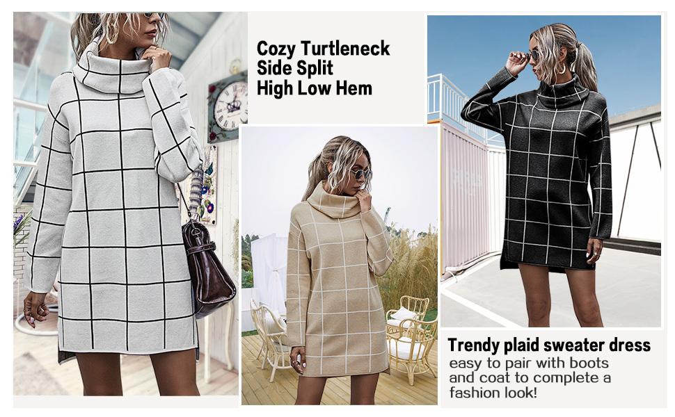 Turtleneck Pullover Sweater Dress for Women