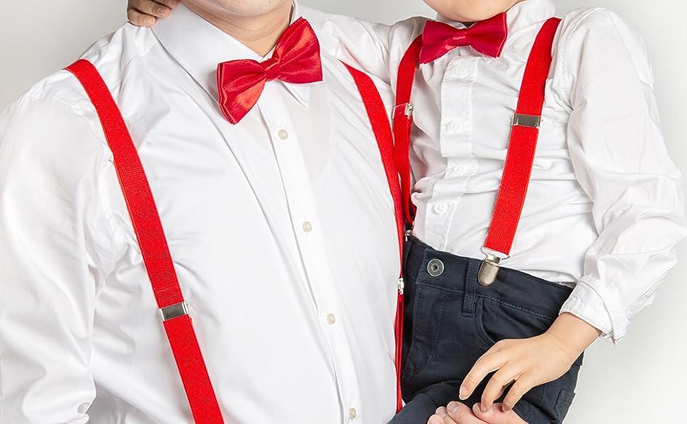 bande /élastique. ensemble de noeud papillon tiss/é solide cuir Hommes Bretelle Tie G U Style clip solide attelle r/églable