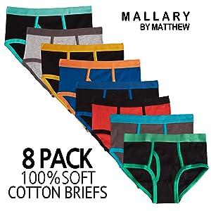 8 pack boys briefs underwear comfortable soft cotton toddler little kids