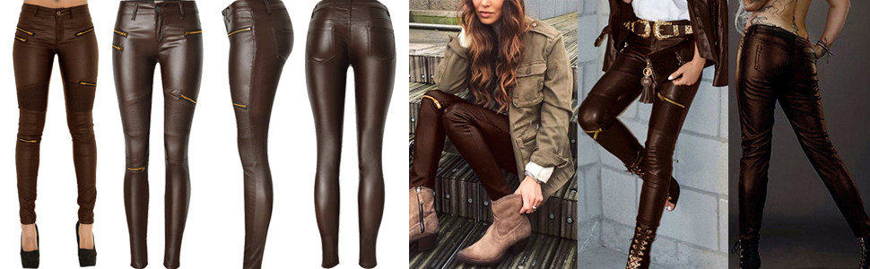 faux leather pants coffee 2019