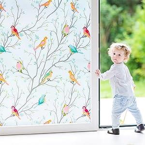Coavas Frosted Window Film Privacy Glass Film, Bird Decorative Non-Adhesive Static Cling Anti UV