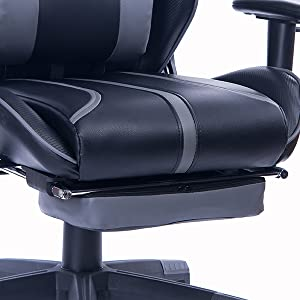 1  Blue Whale Gaming Chair with Adjustable Massage Lumbar Pillow,Retractable Footrest and Headrest -Racing Ergonomic High-Back PU Leather Office Computer Executive Desk Chair (GM039Black-2) 91d5337e c2d1 4ed5 a1a8 64099afd3a3f