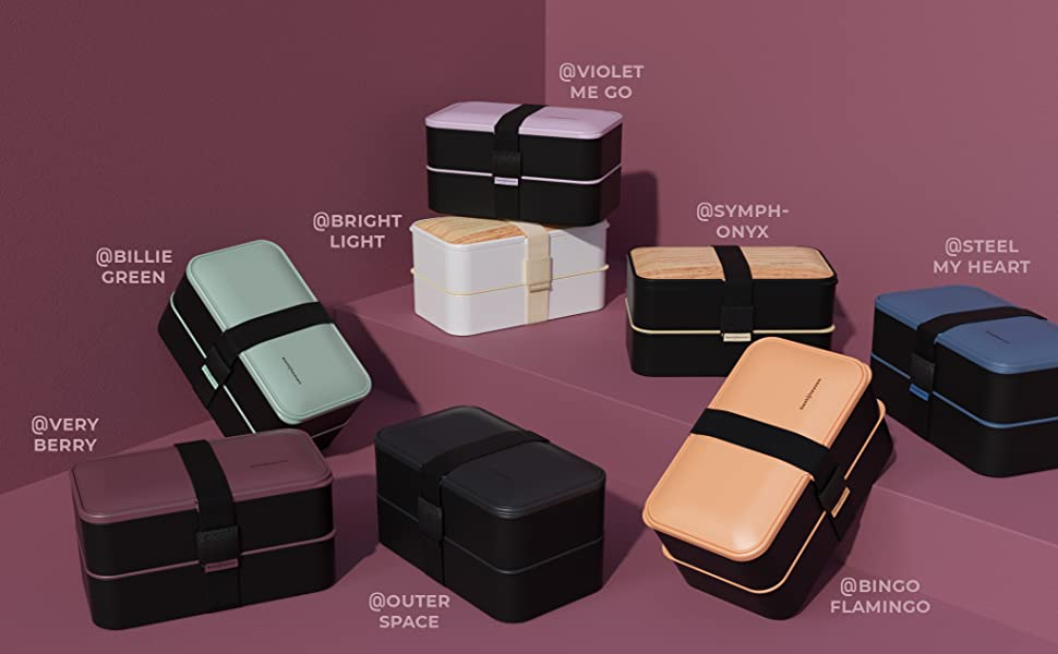 premium bento lunch boxes in 8 colors