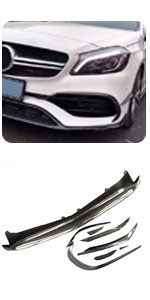 Benz W176 A Class A45 AMG A200 A250 Sport CF Front Low Spoiler Bumper Lip Kit Air Vent Trim Canards