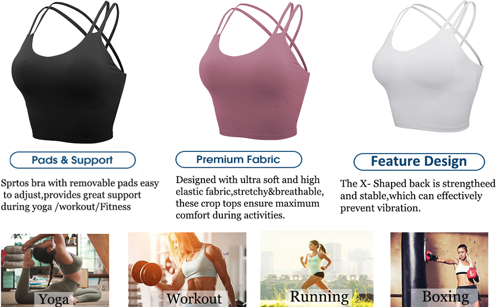 Padded-Fitness-Workout-Running Padded Sports Bra Fitness Workout Running Shirts Yoga Tank Top