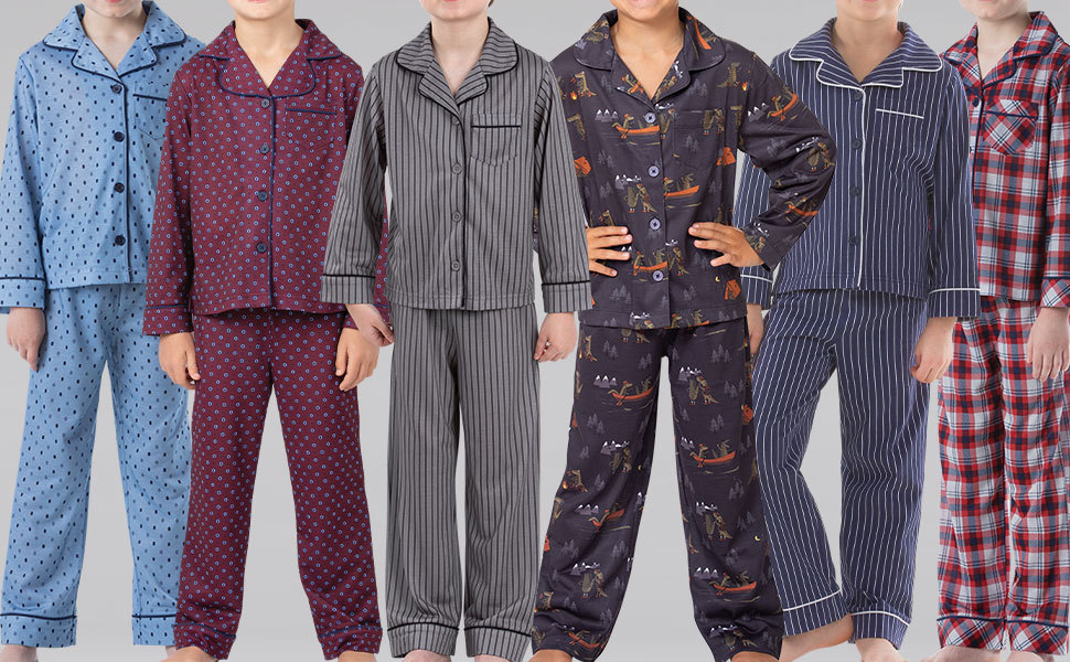 Lineup of boys in pajama sets