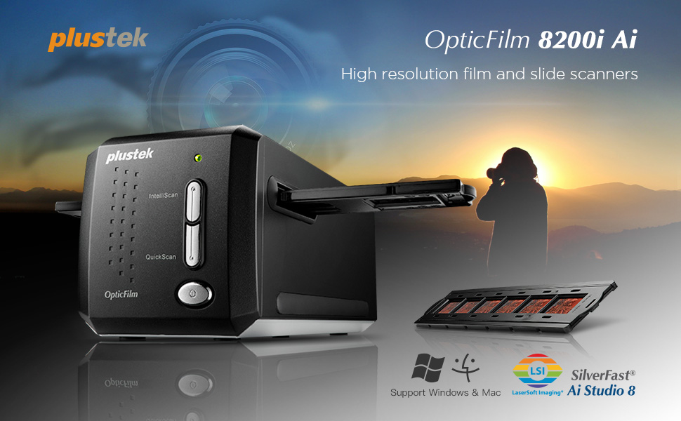 Plustek OpticFilm 8200i AI - 35mm Film & Slides Scanner  IT 8 Calibration  Target + SilverFast Ai Studio 8 8, 7200 dpi Resolution 64Bit HDRi , Mac/PC