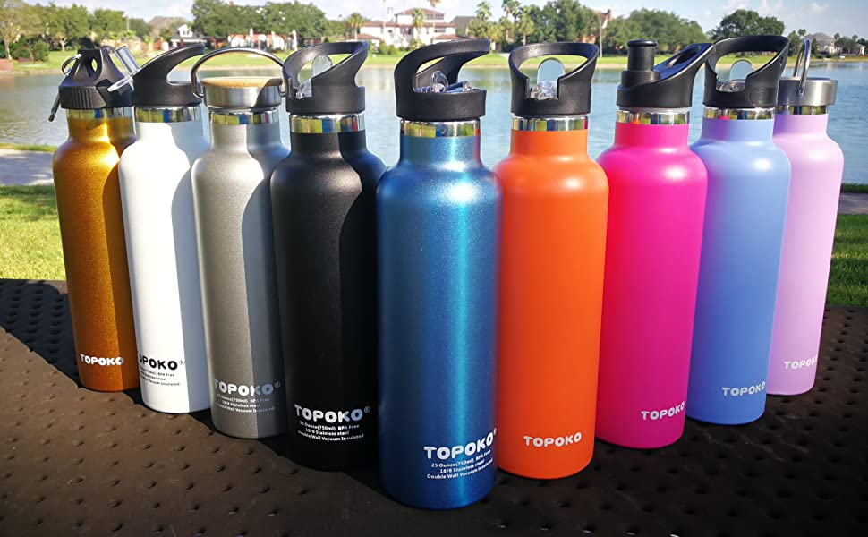 topoko water bottle 25oz double wall stainless steel metal themose insulated leak sweat proof sports