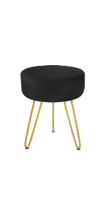 round velvet footstool