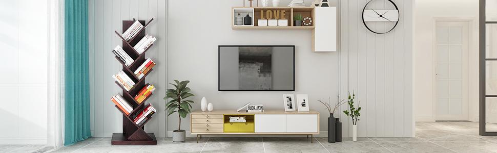 Floor Standing Tree Bookcase in Living Room