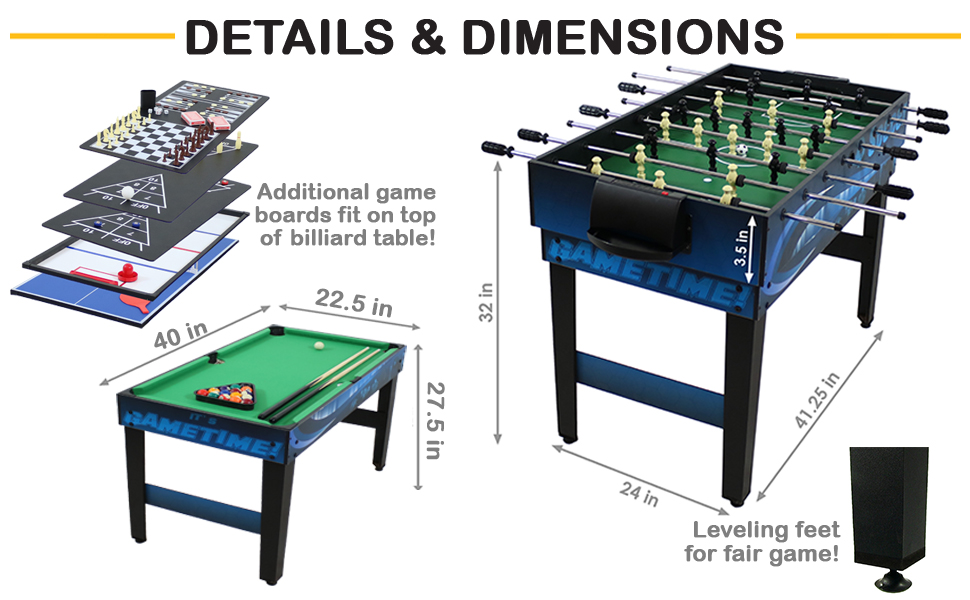Surtido De Juegos De Mesa 10 Juegos Billar Hockey Futbolito Ping Pong 40 Pulgadas Sunnydaze Decor Sports Outdoors
