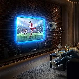 Set de tira LED para retroiluminación de televisor I 2 metros I incluye puerto USB I Tira LED para PC y TV, incluye mando a distancia I 16 colores I tira autoadhesiva