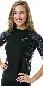 rashie for women short slevees rash guard rashgaurd swimwear surfing wear swimshirt shiort sleeves