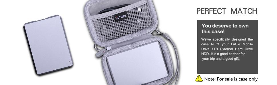 LTGEM Hard Case for LaCie Mobile Drive 1TB External Hard Drive HDD – Moon Silver USB-C USB 3.0