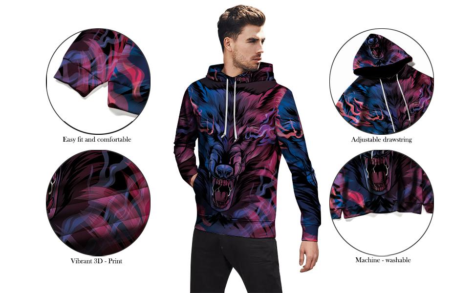 Wildlavie 3D Print hoodie Material