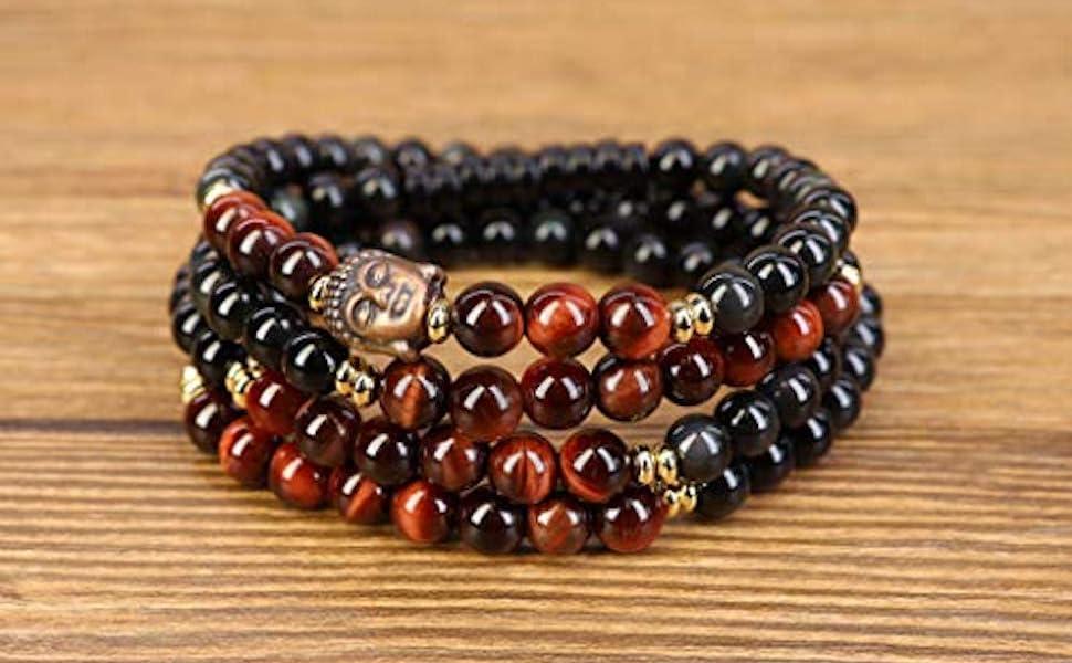 bracciale buddista in ossidiana
