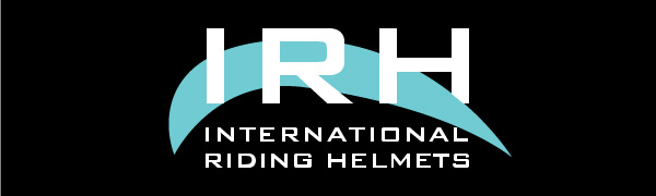 IRH logo letters in front of a curve shape and the words International Riding Helmets underneath
