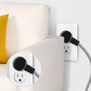 straight flat plug behind furniture