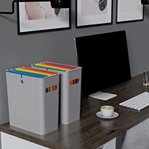 file storage hanging work from home desk office organize documents bin container telecommute desk