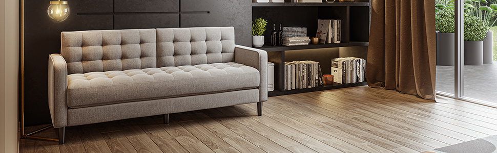 Zinus Classic Sofa 2 Seater Loveseat Fabric Chair Lounge Couch in Soft Grey
