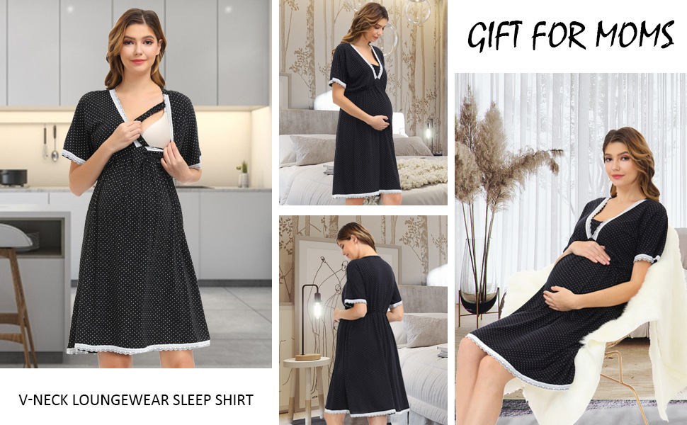 women short sleeve v-neck maternity loungewear night shirt