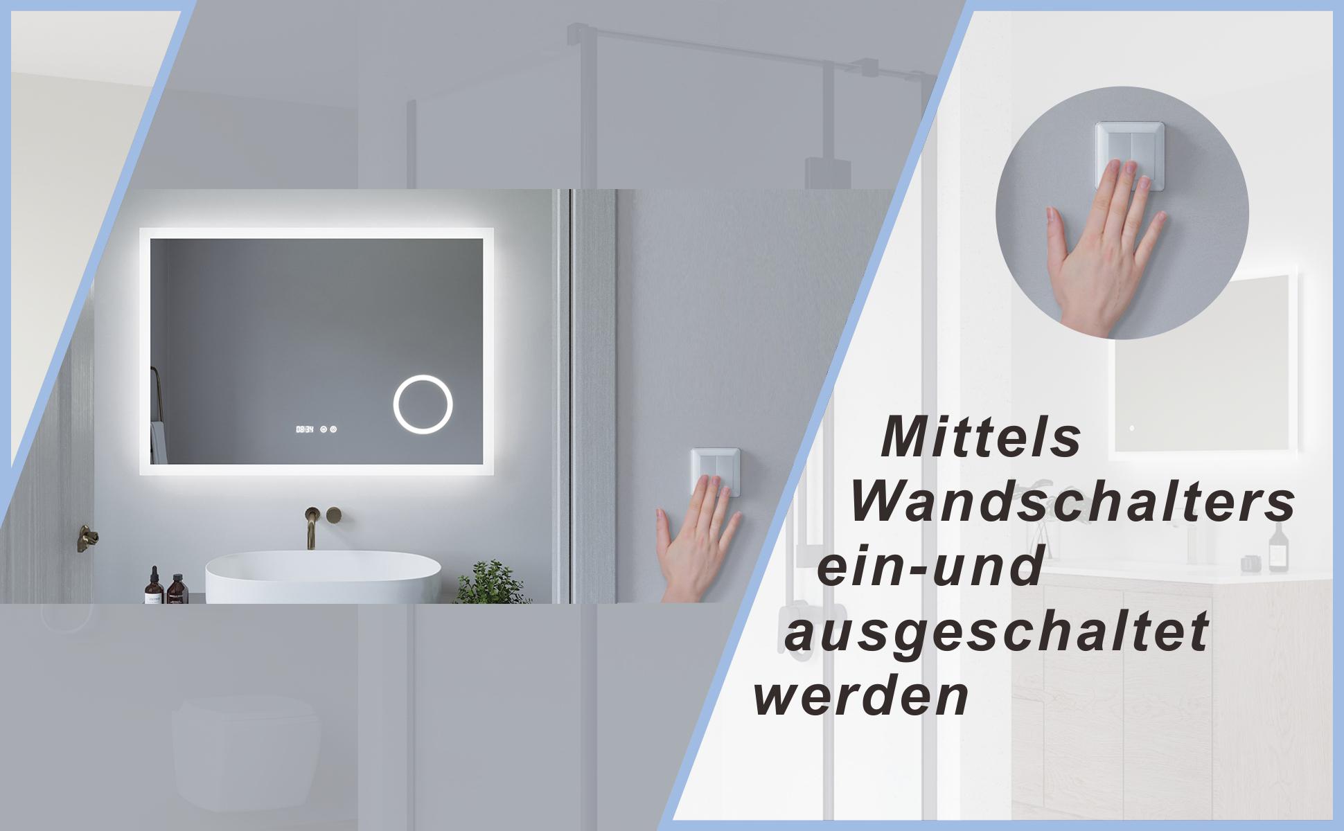 Badspiegel mit LED Beleuchtung Licht und Uhr 100x70cm ECHOS Typ D