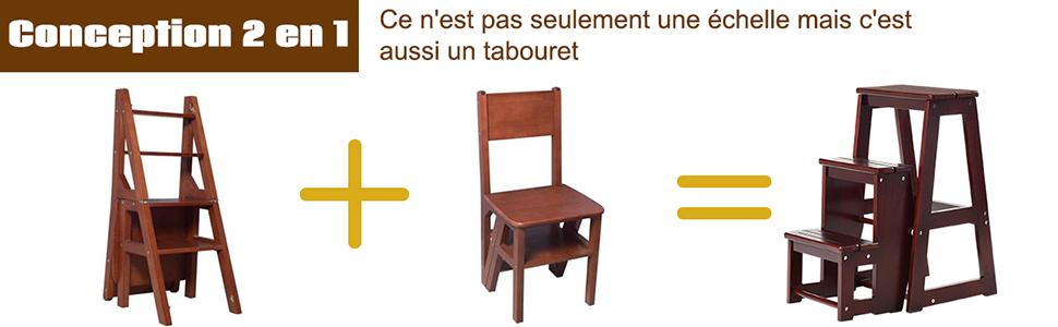 Multifonctionnel Portable Peu Encombrant D/écoratif en Bois Naturel Caf/é Cuisine Chambre Bureau Magasin DREAMADE Escabeau Tabouret Pliant 3 Marches Fabriqu/é en Pin