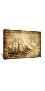 buff map canvas wall art map poster boat canvas print sailling painting sailing boat canvas