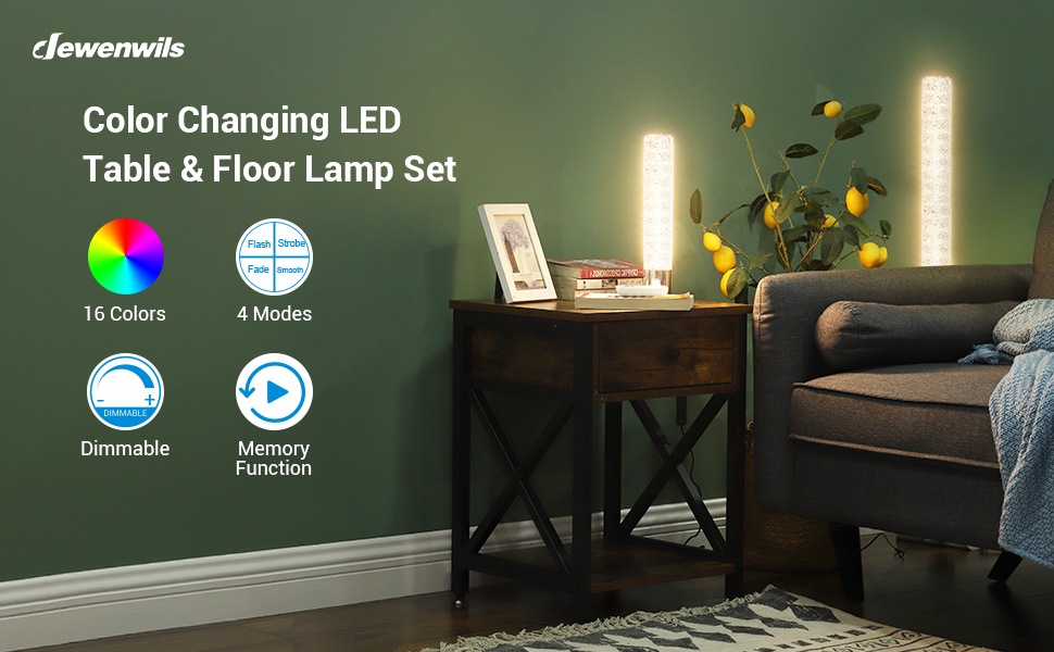 RGBW rgb Color Changing led bedside lamp table Floor Lamp set with Remote Control for bedrooms