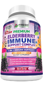 elderberry capsules immune support zinc vitamin c gummies