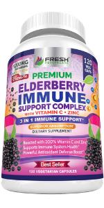 elderberry capsules immune support zinc vitamin c gummies