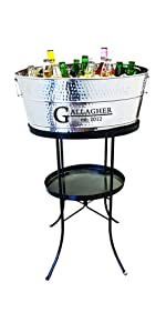 stainless steel tub with iron stand for parties ice tub hammered silver BREKX