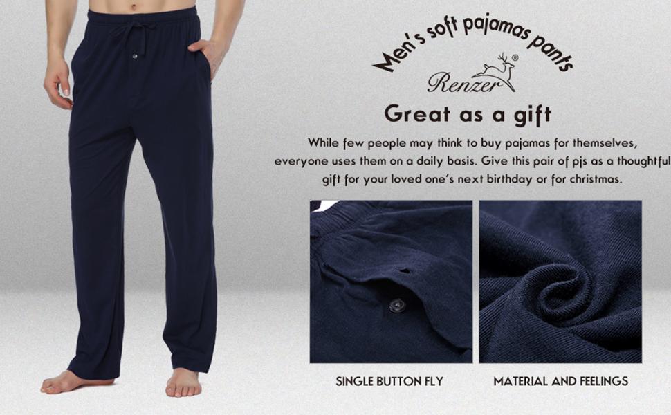 RENZER Men's Pajamas Pants 100% Knit Cotton Sleep Long Lounge Pants at  Amazon Men's Clothing store