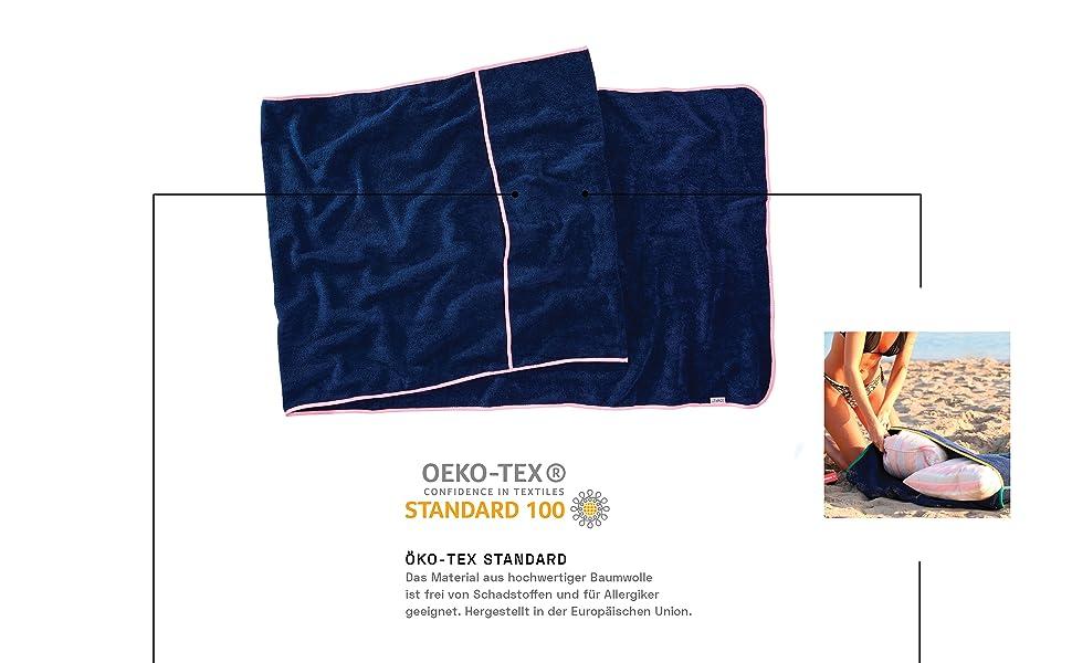 Frottee Auflage Strandtuch mit Kapuzen/überschlag f/ür Strand- Sauna- und Garten Liegen rutschfest Navy//Grau 220 x 80 cm 100/% Baumwolle Sowel/® Saunatuch