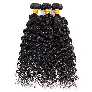 Brazilian Virgin Human Hair Water Wave Wet and Wavy Bundles With Closure